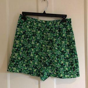 Neon Green Floral Skirt